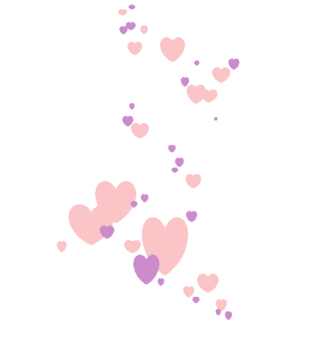 pink and lavender heart cascade