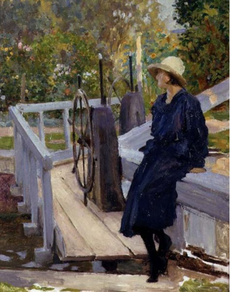 Girl by a Lock by Margetson