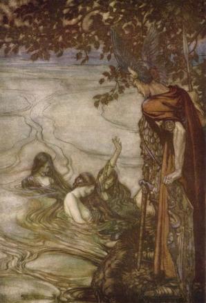 Rhein maidens warn Siegfried