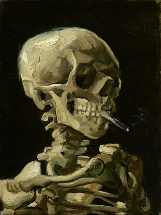 head of a skeleton with burning cigarette by van gogh
